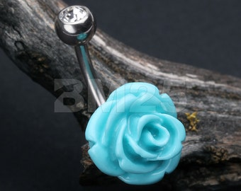 Dainty Blossom Turquoise Rose Belly Button Ring
