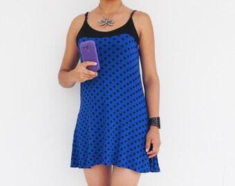 Short dress , Mini dress , Godet dress , Tunic , Sundress , Summer Dress , Day Dress, Blue dress , Polka Dots, Polkadots