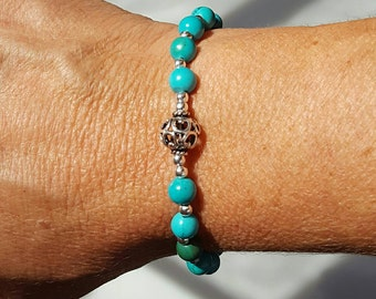 Turquoise and Sterling Silver Stretch Bracelet, Chinese Turquoise, Turquoise Jewelry, Southwest Jewelry, Native American Navajo Inspired
