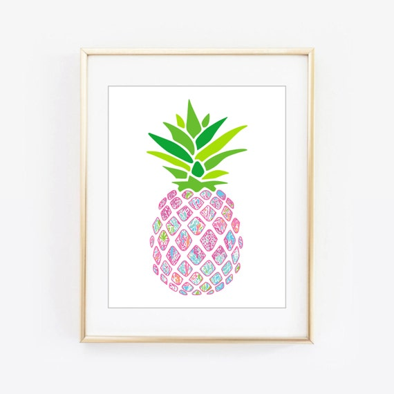 lilly pulitzer inspired let 39 s cha cha pineapple wall frame. Black Bedroom Furniture Sets. Home Design Ideas
