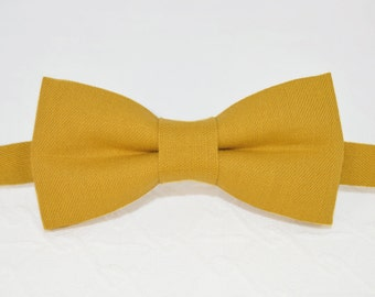 Mustard bow tie, yellow bow tie, linen mustard bow tie, mens bow tie, wedding bow tie, bow tie for men, linen bow tie