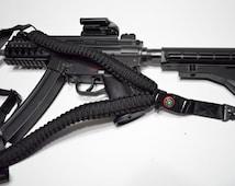 "550 Paracord Rifle Sling with Compass & Flint Firestarter Clasp 50"" Single Point Gun sling (Black)"