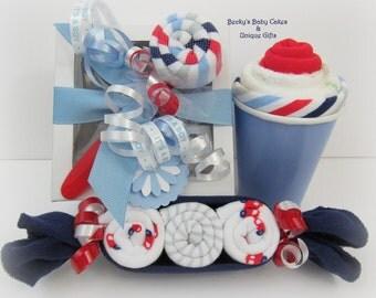 Onesie Cupcake Gift Set, Baby Boy Gift Set, Baby Boy Onesie Cupcake Gift Set, Washcloth Peapod, Lollipop Washcloth, Washcloth Milkshake