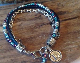 Boho Bracelet, Single Wrap bracelet, Blue, Silver, With charm, Beaded Bracelet, Miyuki Beads, Silver Chain Boho Bracelet, Gift for her