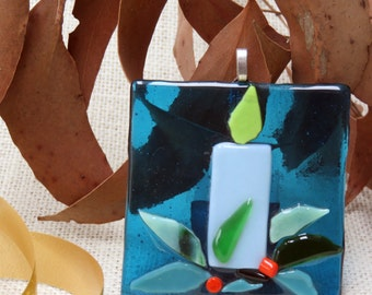 Christmas Ornament / Suncatcher,Hand Crafted, Fused Glass, Tree Ornament, Home Decor, Home and Living, Blue Candle