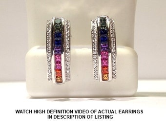 2.50 Carats Genuine Rainbow Sapphire Earring set in 925 Sterling Silver