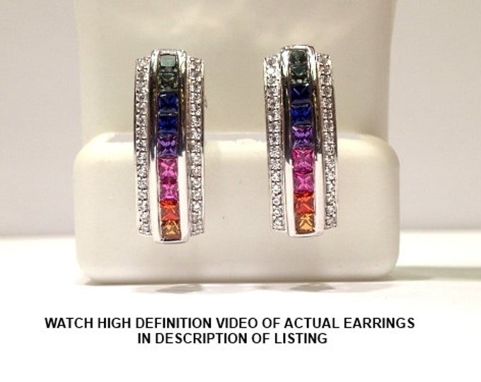Featured listing image: 2.50 Carats Genuine Rainbow Sapphire Earring set in 925 Sterling Silver