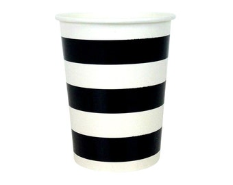 Party Paper Cups 12pcs Black Rugby Horizontal Stripe PPC100003- Just Artifacts Brand