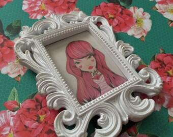 "Original Illustration Framed Mini Print ""Babe"" (Charming Lovettes)"