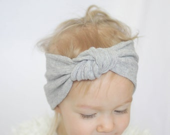 Baby (Child) Knotted Headband, Knit headband,  Grey Headband
