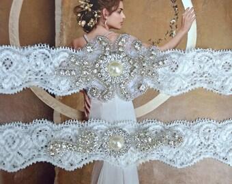 Pearl Wedding Garter, Crystal Bridal Garter Set, Vintage Inspired Wedding Stretch Lace Garter, Bridal Garter, Rhinestone Garter