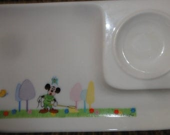 Vintage Mickey Mouse and Butterflies/Trees Divide Dish/Walt Disney Production