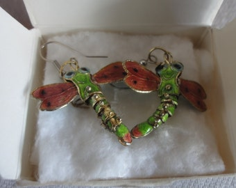 Vintage 1990 Dragonflies Avon Earrings /with Box