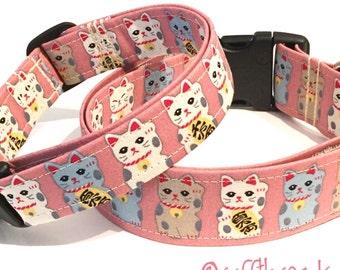 Lucky cat Maneki-neko large dog collar
