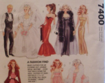 McCall's Pattern 7400 Barbie Ken Doll Clothes