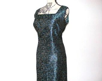 Vintage teal brocade dress