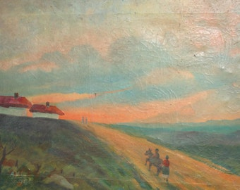 Antique oil painting landscape country houses
