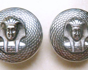 Vintage Large Egyptian Revival Style Pharaoh Clip On Earrings.