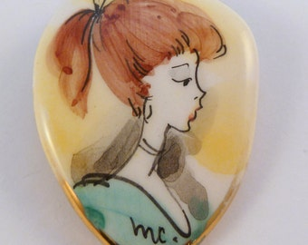 Vintage Hand Painted Ceramic Girl With Ponytail Profile Brooch.