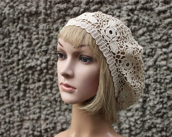 Crochet Summer Beret,  Summer Accessories, Womens Accessories,  Irish crochet Beige beret, mom life present Crocheting