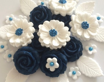 NAVY BLUE ROSE Bouquet edible sugar paste flowers cake toppers decorations