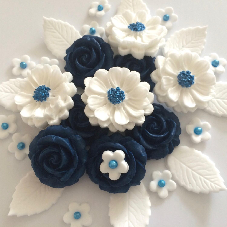 NAVY BLUE ROSE Bouquet edible sugar paste flowers cake