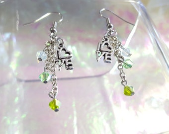 SALE LOVE dangling earrings with Chartreuse bicone beads, mint and baby blue.
