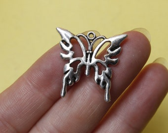 Butterfly charms Antique silver hollow butterfly charm pendant 24x25mm