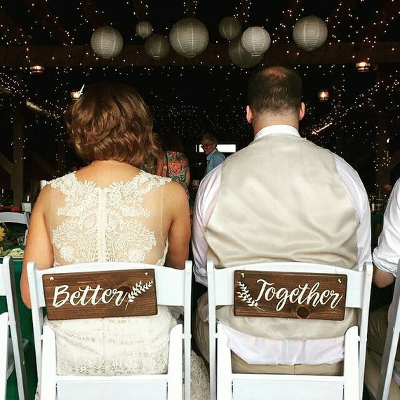 28 Ideas For Sitting Pretty At Your Head Table: Better Together Sweetheart Table Wedding Chair Hangers