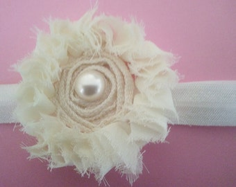Baby Headband, Flower Headband, Cream Headband, Shabby Flower Headband, Girls Headband, Toddler Headband