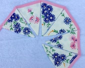 Blue Flower Vintage Embroidered Bunting - Wedding / Garden Party / Home Decor 85cm
