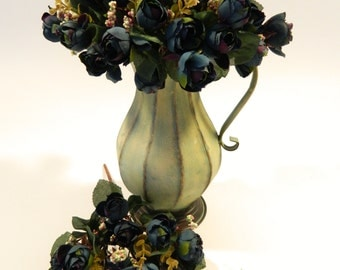 Mini Rose Bud Bush in Antique Blue - 12'' Tall