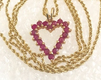 "14k yellow gold Ruby heart necklace 18""l. 14k gold jewelry. 14k gold gemstone pendant Neckalce"