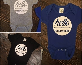 Hello I'm New Here Bodysuit Onsie, Coming Home Outfit, BABY Swag, Newborn Clothes