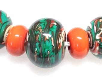 Bead Set - A Set of 7 Handmade Glass Beads - Orange and Green Handmade Glass Beads