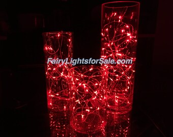 3m/9.8ft 5+ sets Red 30 LED fairy light string strand button battery DIY, centerpiece, wedding, costume, clothing, rave, EDM, outdoor event