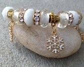 Snowflake Bracelet, Charm Bracelet, Stocking Stuffer, Christmas Jewelry, Beaded Jewelry, Gift for Her, Bangle Cuff, Gold Cuff, OOAK