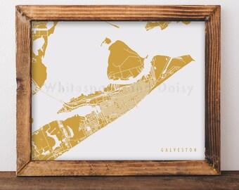 Galveston Map Galveston Art Galveston Map Art Galveston Print Galveston Printable Galveston City Art Texas Art