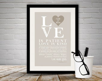 Personalised Love Print / Corinthians Verse Unframed