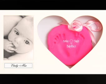 Baby Soft Clay Handprint Footprint Kit / Large Black Effect Heart Frame - Choose Clay Colour