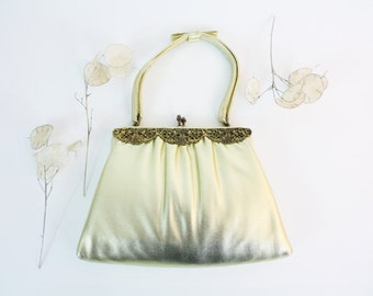1950s gold purse - evening bag, gold filigree, with wallet, After Five, Madmen, bridal purse, clutch or hand bag
