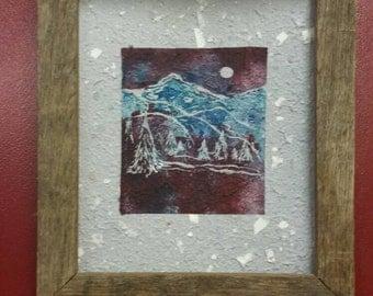 MOUNTAIN PRINT/Handmade Paper/Mountain Linocut/Woods Print/Appalachian Art