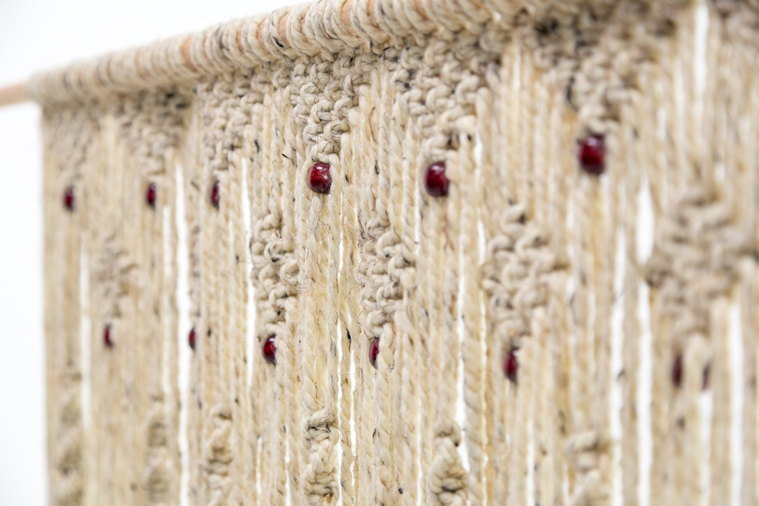 Macrame Beaded Door Curtain Or Boho Wall Hanging