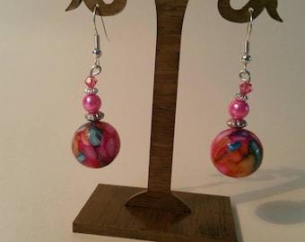 Beautiful pink drop earrings.