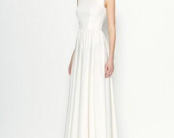 White Maxi Dress.Open Back Dress Occasion.Sleeveless Party Dress