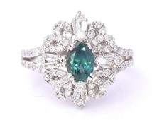 Natural 2.63 cttw GIA Alexandrite (Green to Purple) and Diamond Ring (SI/GH) Cocktail Ring 18K White Gold Size 7 1/4