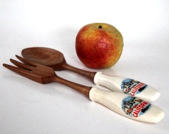 Wooden Spoon and Fork Set, Vintage Salad Serving Utensils. California Souvenir
