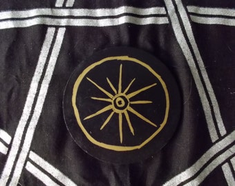Altar Tools - Hellenic - Star of Olympus - Black and Gold Altar Tile - Felt Backing