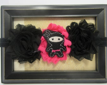 Pink and Black Ninja Headband