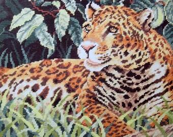 Jaguar Dimensions Needlepoint kit #2400 Jungle decor Vintage 1992 embroidery needle craft